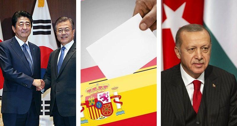 Erdogan in Hungary, Spanish elections, Moon Jae-In and Shinzo Abe