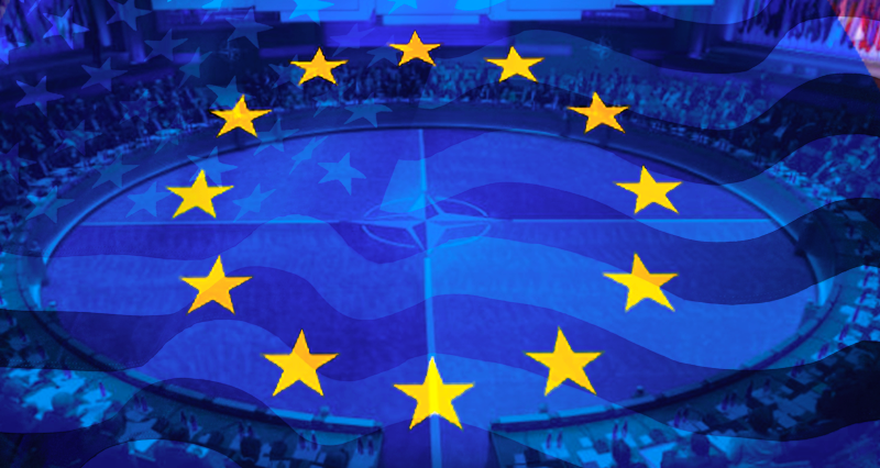 Europe wedged between Asia and Atlantic